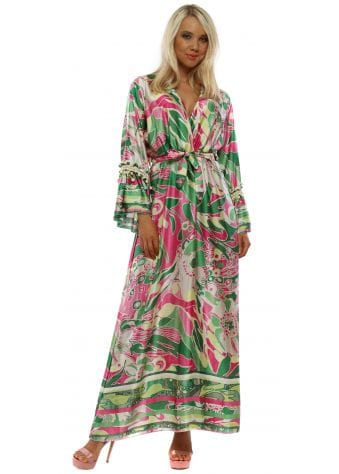 Green & Pink Long Sleeve Maxi Dress