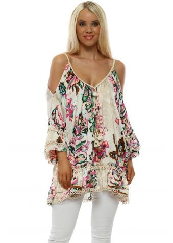 Cream Floral Print Cold Shoulder Tunic Top