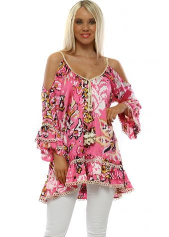 Pink Floral Print Cold Shoulder Tunic Top