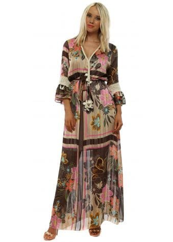 Brown Floral Print Chiffon Maxi Dress