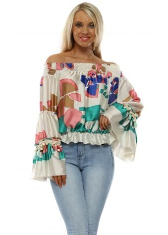 Cream Pretty Print Bardot Top