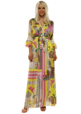 Yellow Floral Print Chiffon Maxi Dress