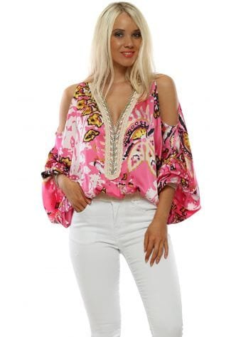 Pink Floral Cold Shoulder Flouncy Sleeve Top