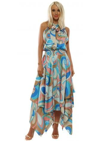 Pink & Blue Swirl Halter Neck Handkerchief Dress