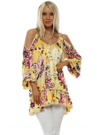 Yellow Floral Print Cold Shoulder Tunic Top