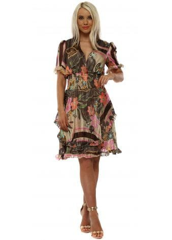 Brown Floral Fit & Flare Dress