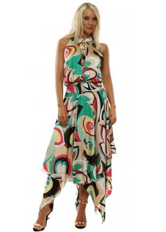 Pink & Green Swirl Halter Neck Handkerchief Dress