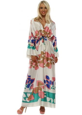 Cream Pretty Print Long Sleeve Maxi Dress