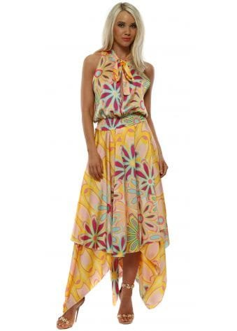 Yellow Floral Halter Neck Handkerchief Dress