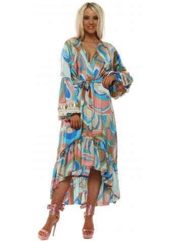 Pink & Blue Swirl Long Sleeve High Low Dress
