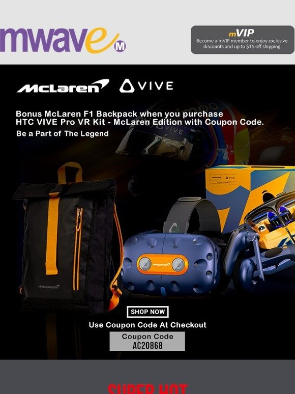 mwave: BONUS McLaren F1 Backpack when you purchase the HTC VIVE Pro