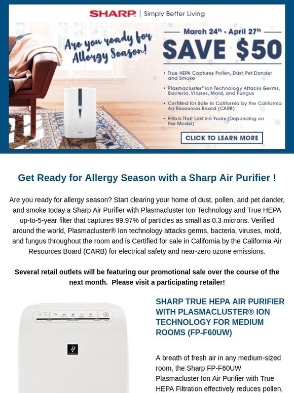 Sharp Electronics: Are You Ready for Allergy Season? | Milled