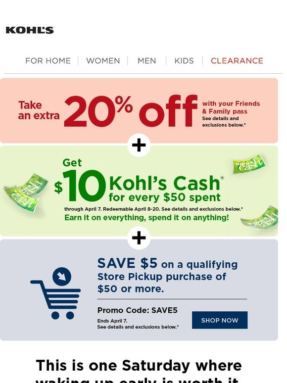 8b89e9f7d Kohl's: 3 words to make waking up easier: Early Bird Deals. | Milled