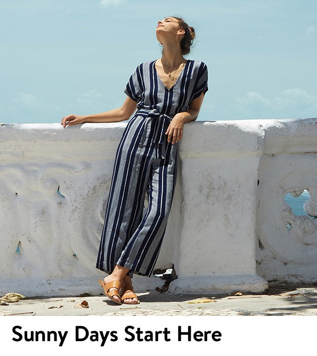 Sunny days start with new spring clothing, shoes and accessories.