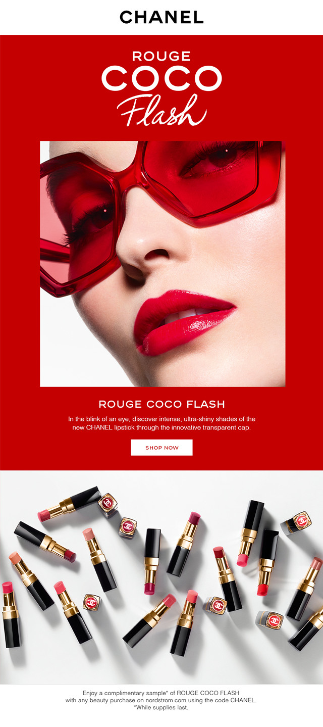 New from CHANEL—Rouge Coco Flash lipstick.