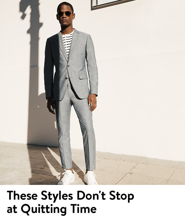These styles don't stop at quitting time: men's business casual clothing.