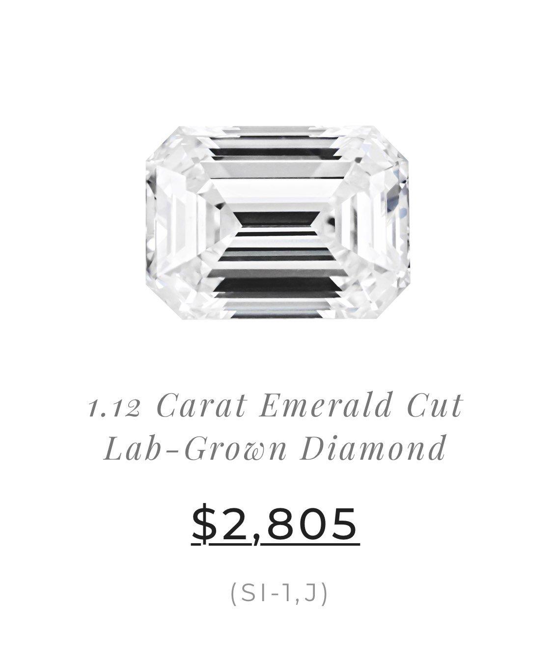 1.12 Carat Emerald Cut Lab-Grown Diamond