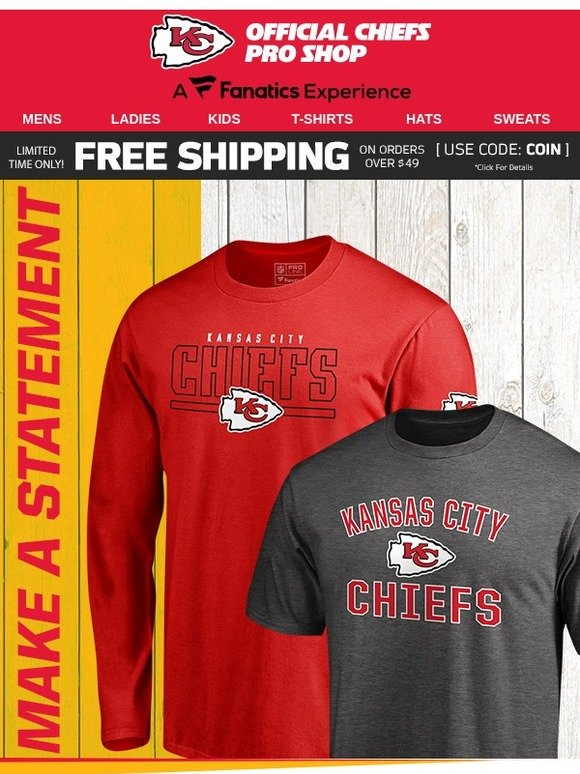uk availability ac358 5d3a7 Kansas City Chiefs: Score Free Shipping On Our Chiefs T ...