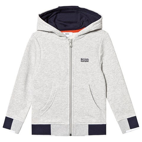 Boss Grey and Navy Branded Hoodie