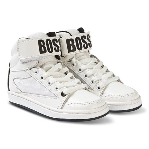 Boss White Branded Leather Hi Top Trainers