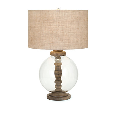 Sophisticated Mahin Wood and Glass Lamp