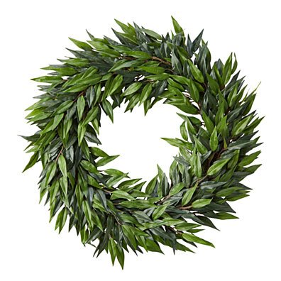 22-Inch Artificial Ficus Microphylla Leaf Wreath Indoor Lifelike Round Faux Greenery