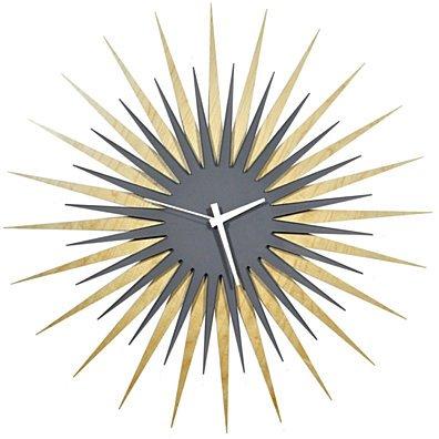 Atomic Era Clock - Maple Grey/White - Midcentury Modern Starburst Clock - 23