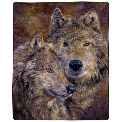 Full Queen Size Luxury Mink Fuzzy Blanket Wolf Pair Super Soft 74 x 91 Inch 7.5 lbs