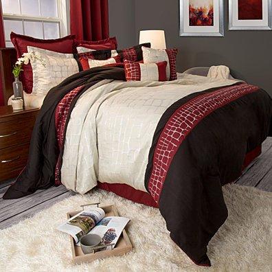 Lavish Home Ashley 9 Piece Comforter Set - Queen - Burgundy