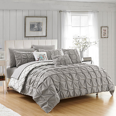 Rahab 10 or 8 Piece Reversible Comforter Set Complete Bed in a Bag Pintuck Pleated and Aztec Inspired