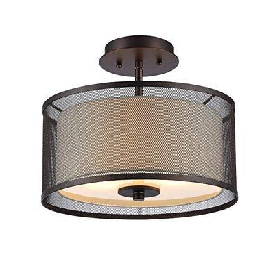 AUDREY Transitional 2 Light Rubbed Bronze Semi-flush Ceiling Fixture 13