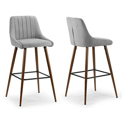 Set of 2 Amos Grey Fabric Barstool with Metal Frame and Legs