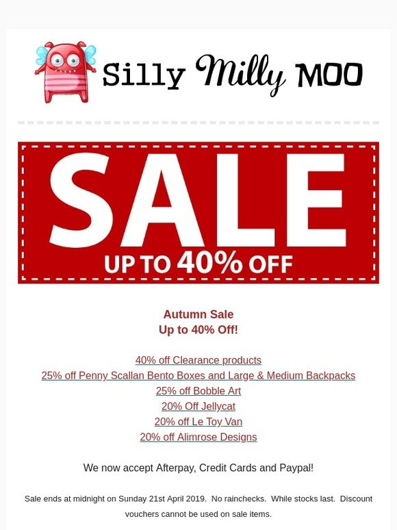 Silly Milly Moo: 🍂 Jellycat Sale - Autumn Sale Continues