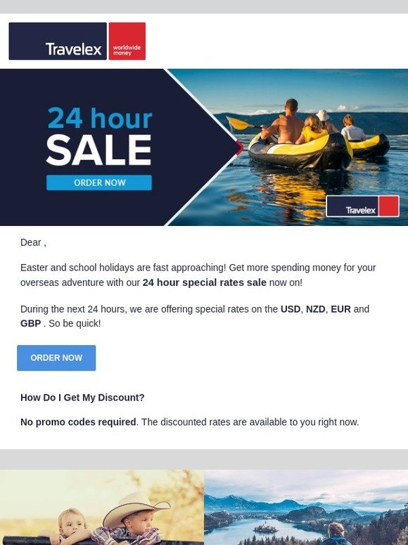 Travelex Currency: 24 hour special rates sale on USD, EUR