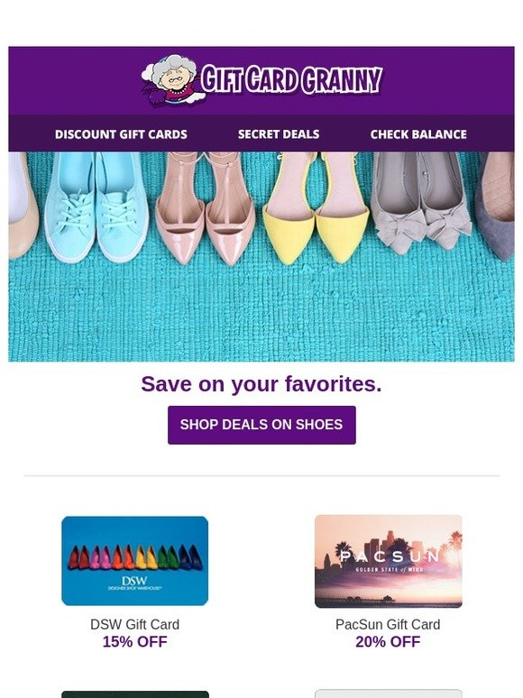 Gift Card Granny Spring Shoes For Less Savings Of Up To 26