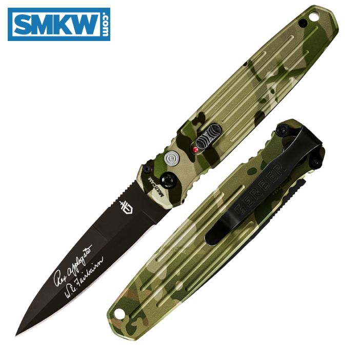 GERBER APPLEGATE FAIRBAIRN COVERT AUTOMATIC WITH CAMO ALUMINUM HANDLE AND BLACK S30V STAINLESS STEE BLADE