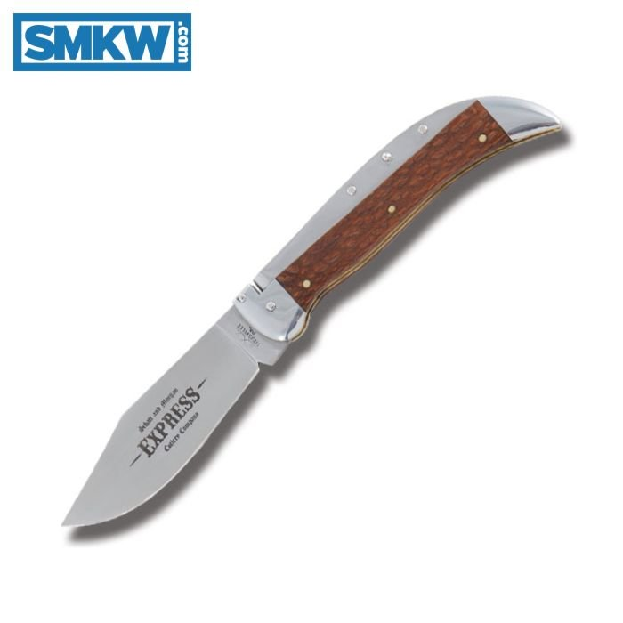 """QUEEN CUTLERY SCHATT AND MORGAN EXPRESS AUTOMATIC KNIFE WITH LEOPARD WOOD HANDLE AND SATIN FINISH 1095 CARBON STEEL 4.25"""" CLIP POINT PLAIN EDGE BLADE MODEL KD71LD"""