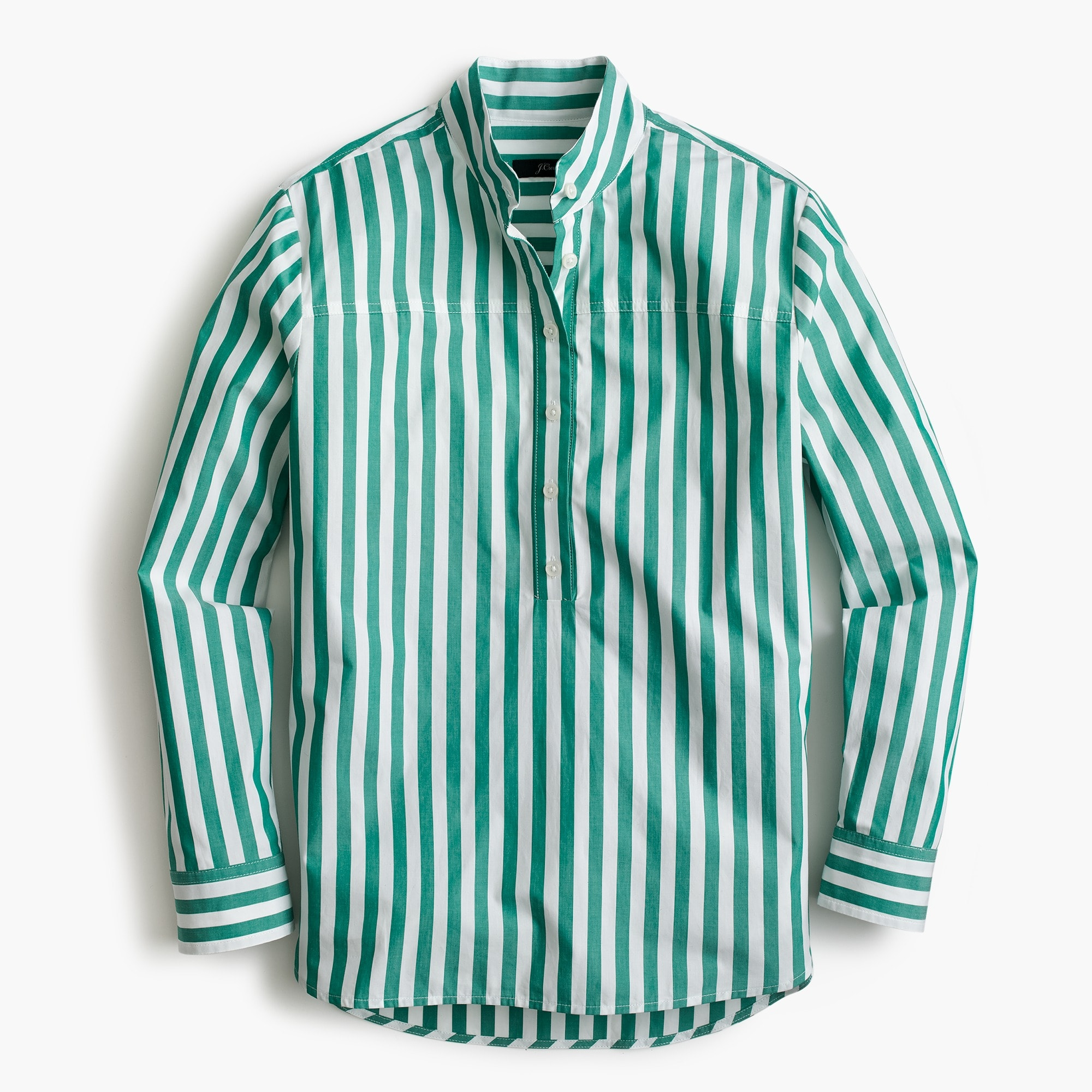 Band-collar popover tunic in bold stripe