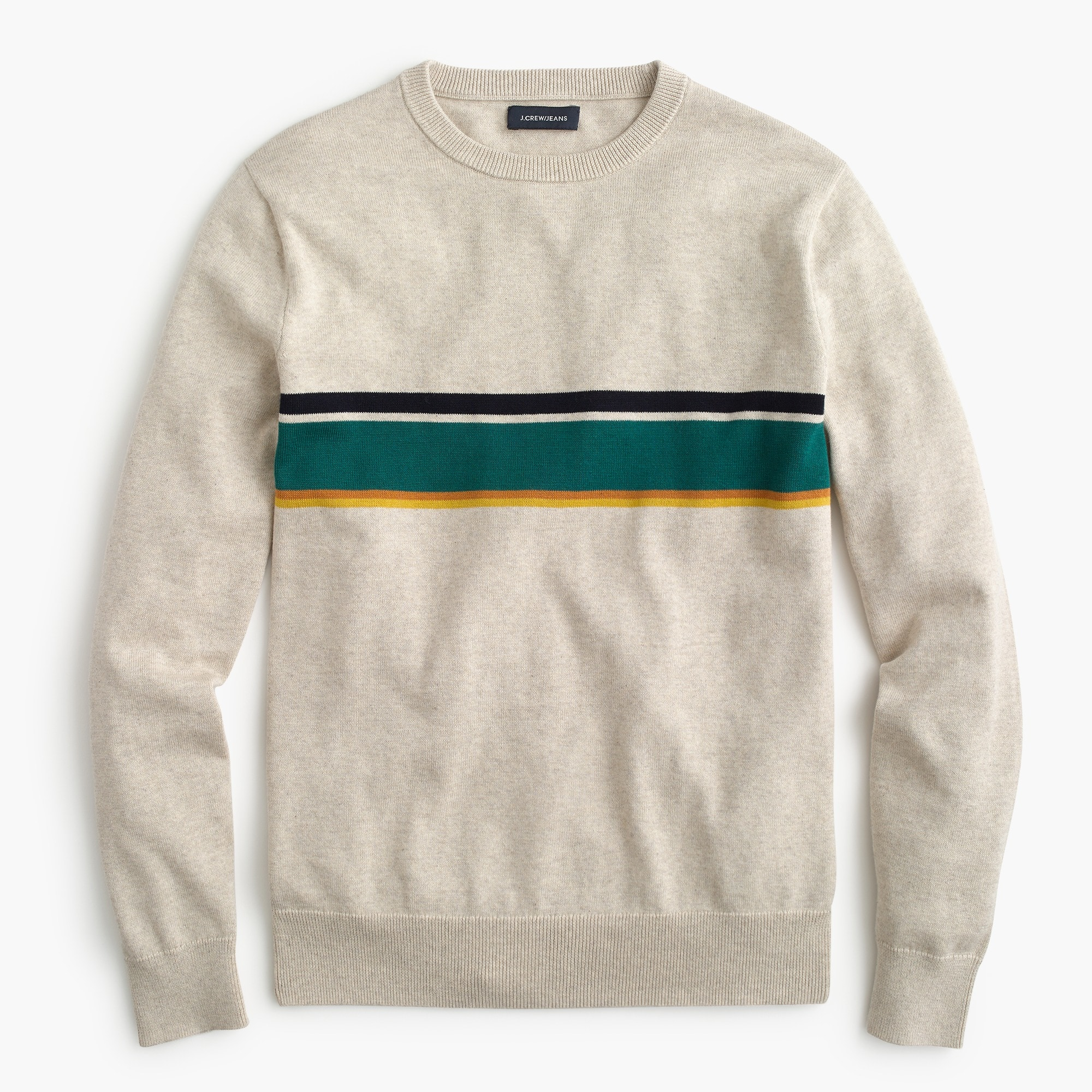 Cotton crewneck sweater in multicolor stripe