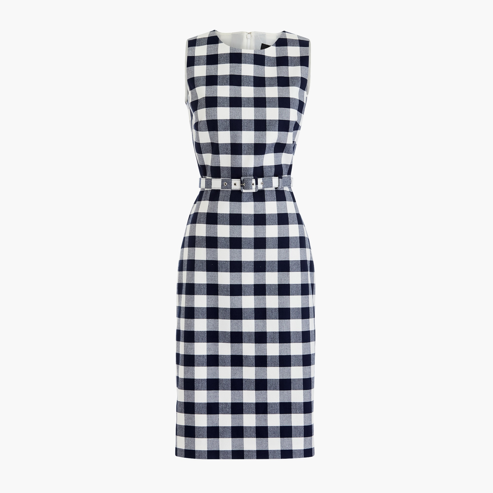 Classic Belted gingham sheath dress in bi-stretch cotton