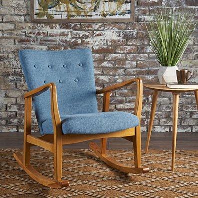 Collin Mid Century Fabric Rocking Chair