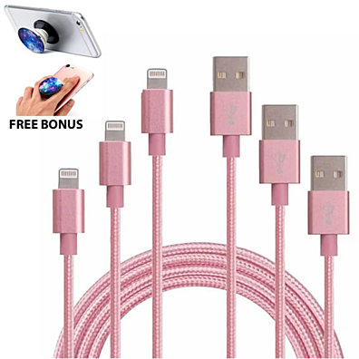 Charging Cables for iOS or Android in Multiple Lengths (3-Pack)