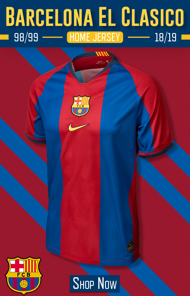 eafab2c2279 SoccerPro.com  Special Barcelona 98 99 Home Jersey. Find Classic ...