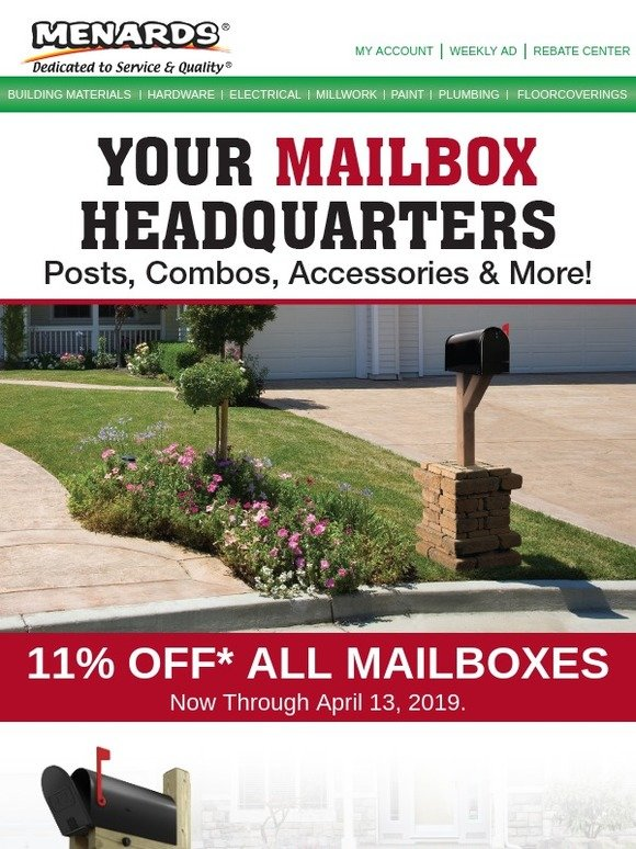 Menards: 11% Off* All Mailboxes, Posts, Combos and More