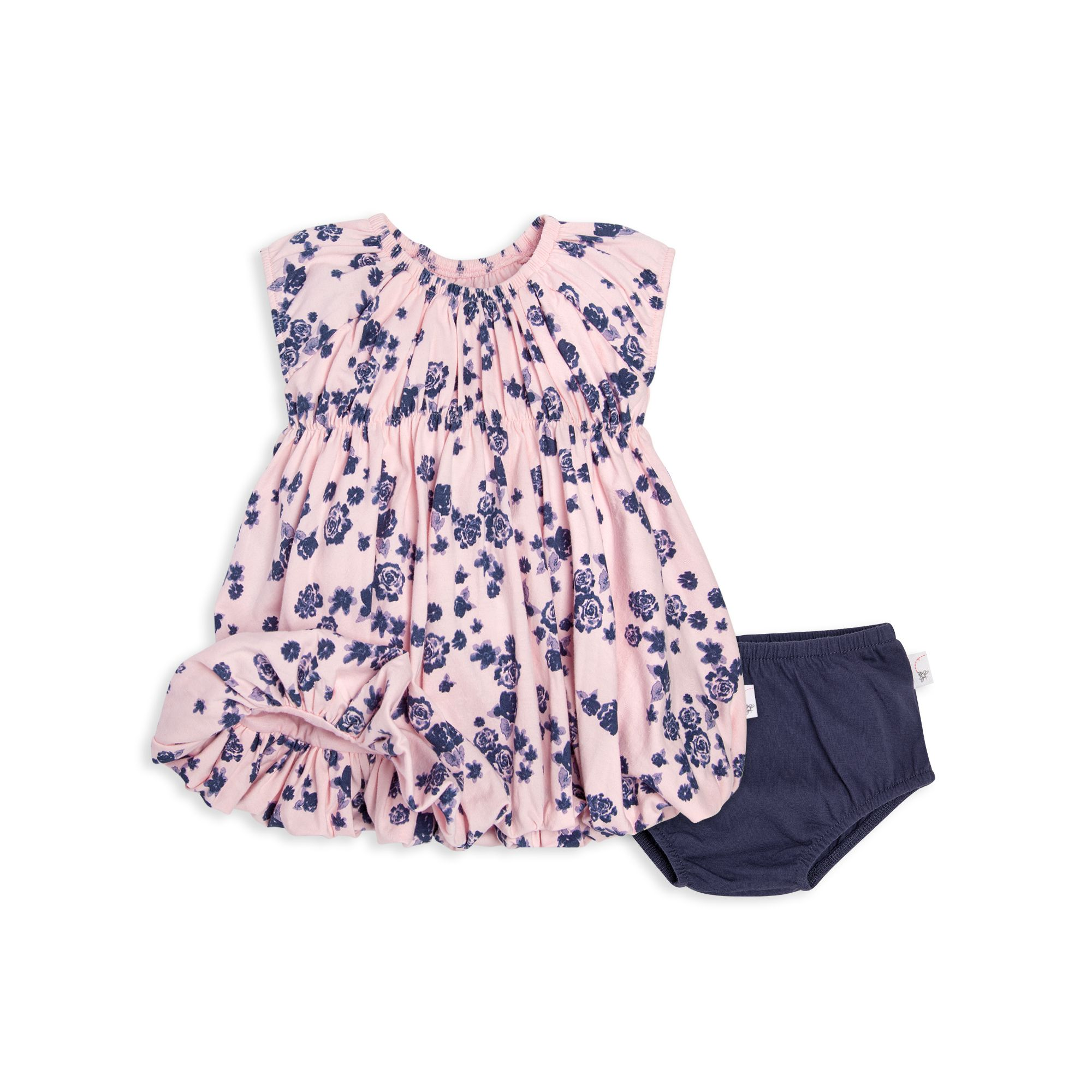 Floral Organic Baby Bubble Dress & Diaper Cover Set