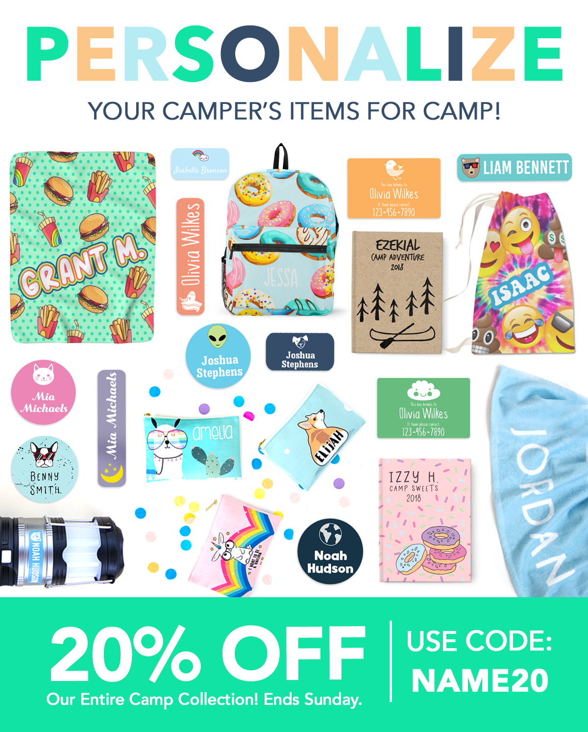 Get 20% off our Camp Collection with Code: NAME20