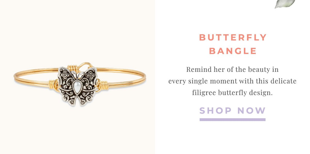 BUTTERFLY BANGLE | Remind her of the beauty in every single moment with this delicate filigree butterfly design. | SHOP NOW