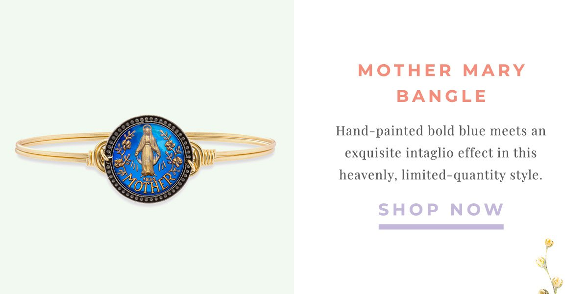 MOTHER MARY BANGLE | Hand-painted bold blue meets an exquisite intaglio effect in this heavenly, limited-quantity style. | SHOP NOW