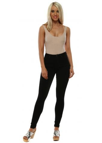 Black Stretch Fit Skinny High Waisted Jeans