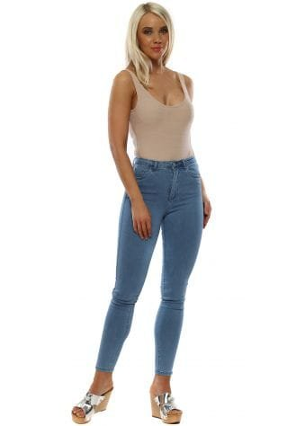 Blue Stretch Fit High Waisted Jeans